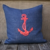 Navy Burlap Pillow With Red Anchor