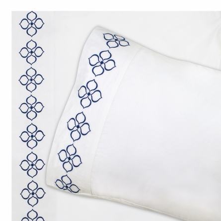 On Sale Navy Embroidered Hollywood Sheet Set