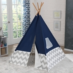 Navy & Gray Chevron Deluxe Play Teepee
