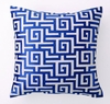 Navy Greek Key Embroidered Pillow