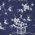 Navy Pagoda Fabric by the Yard