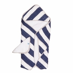 Navy Stripe Cotton Muslin Hooded Towel Set