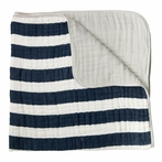 Navy Stripe Cotton Muslin Quilt