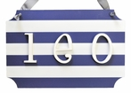 Navy Wooden Stripe Personalized Name Plaque