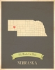 Nebraska My Roots State Map Art Print - Blue