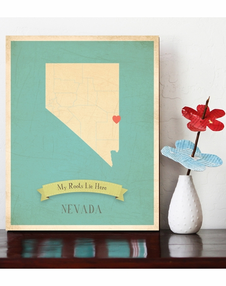 Nevada My Roots State Map Art Print