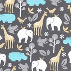 New Arrivals Inc Fabric - Zoo Animals in Aqua