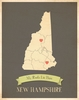 New Hampshire My Roots State Map Art Print - Blue
