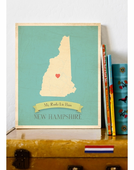 New Hampshire My Roots State Map Art Print