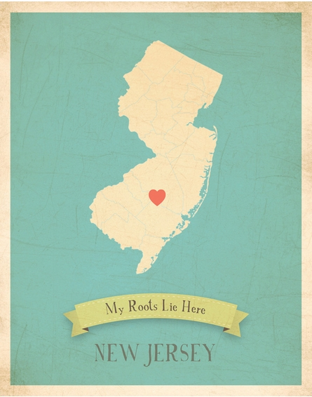 New Jersey My Roots State Map Art Print - Blue