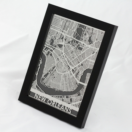 New Orleans Stainless Steel Framed Map