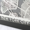New York City Stainless Steel Framed Map