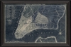 New York Map 1789 Blue Framed Wall Art
