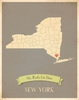 New York My Roots State Map Art Print - Blue