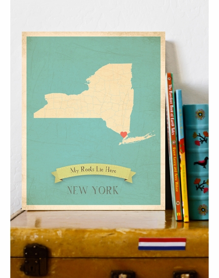 New York My Roots State Map Art Print