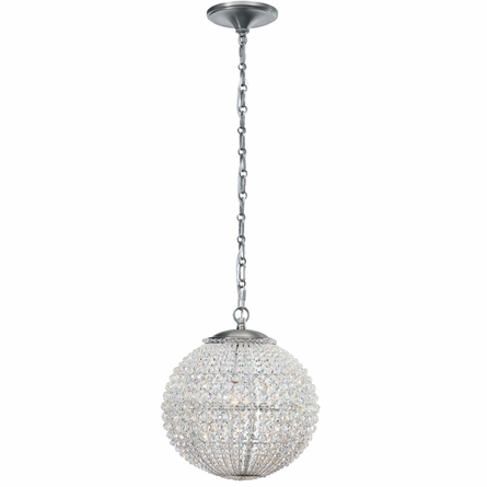 Newbury Antique Pewter Crystal Globe Chandelier