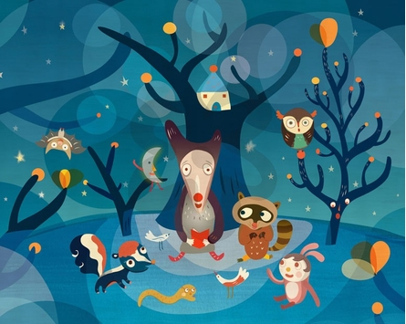 Night Critters Canvas Wall Art