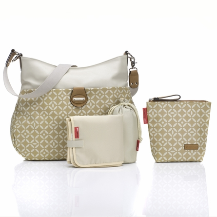 Nina Diaper Bag in Stone & Tan