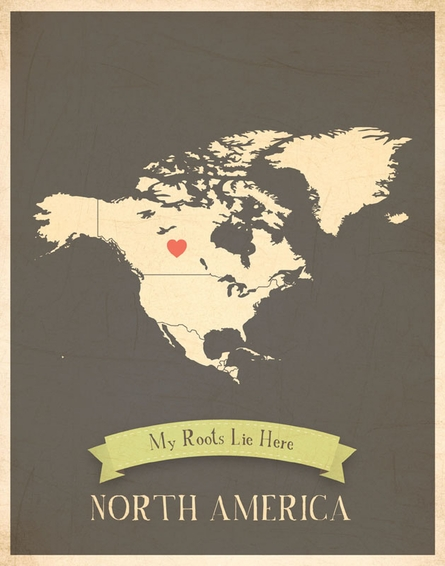North America My Roots Continental Map Art Print