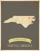 North Carolina My Roots State Map Art Print - Blue