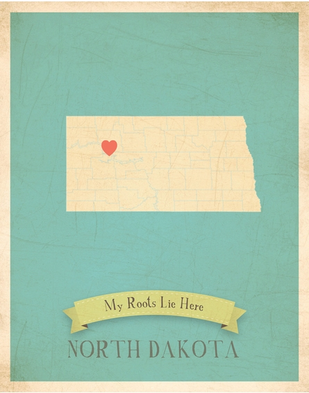 North Dakota My Roots State Map Art Print
