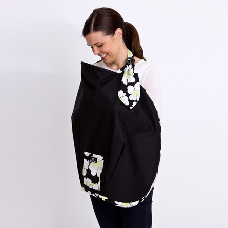 Nursing Cover in Black with Lime Poppy Trim