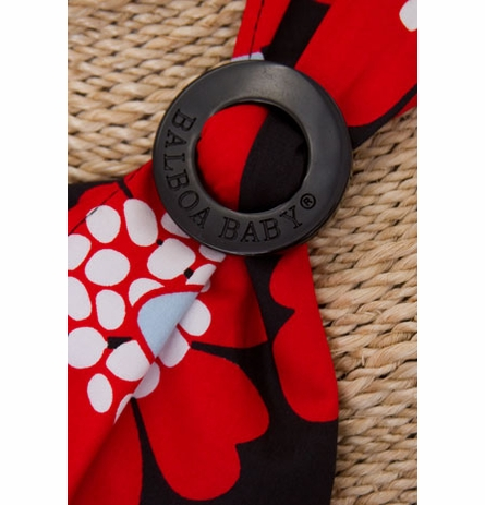 Nursing Cover in Black with Red Poppy Trim