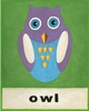 O is for Owl Green Canvas Reproduction