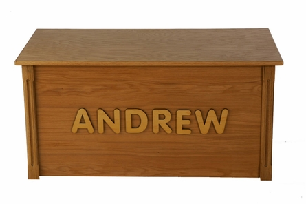 Oak Toy Box with Raised Maple Wooden Letters