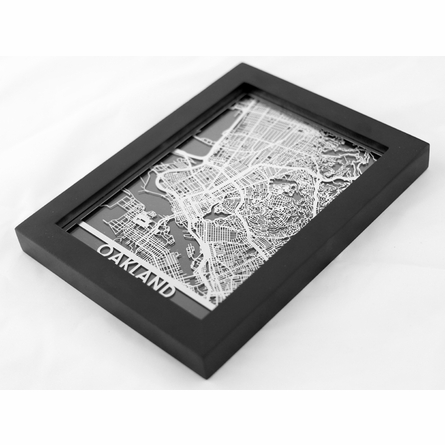 Oakland Stainless Steel Framed Map