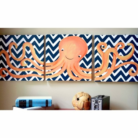 Oakley Octopus Triptych in Navy Canvas Reproduction