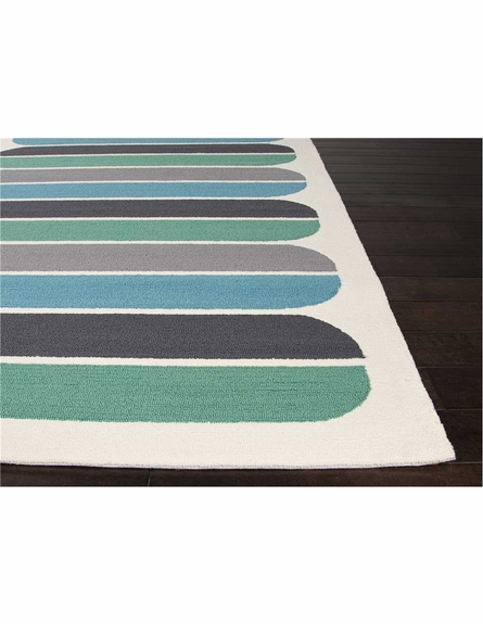Oblong Rug in White and Gray