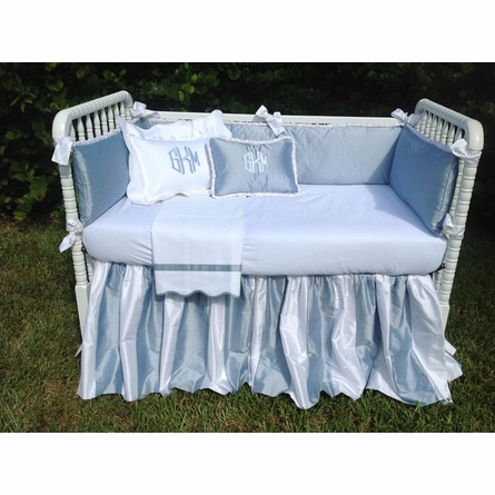 Ocean Blue and White Stripe Crib Skirt