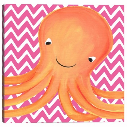 Oceana Octopus Triptych in Pink Canvas Reproduction