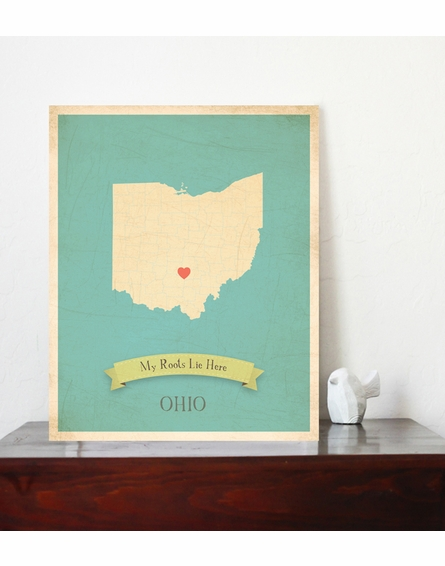 Ohio My Roots State Map Art Print