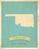 Oklahoma My Roots State Map Art Print - Blue