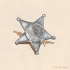 Old Sheriff Toy Badge Canvas Wall Art