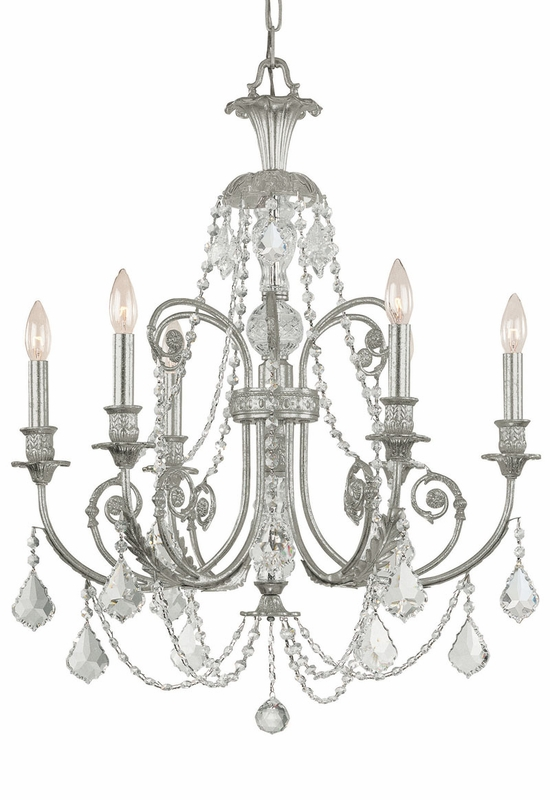 Olde Silver Wrought Iron Chandelier with Hand