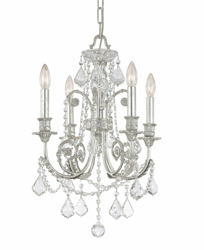 olde silver wrought iron small chandelier with hand