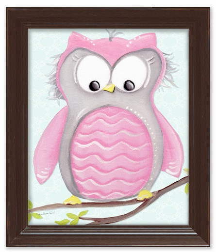 Olive Owl Framed Canvas Reproduction