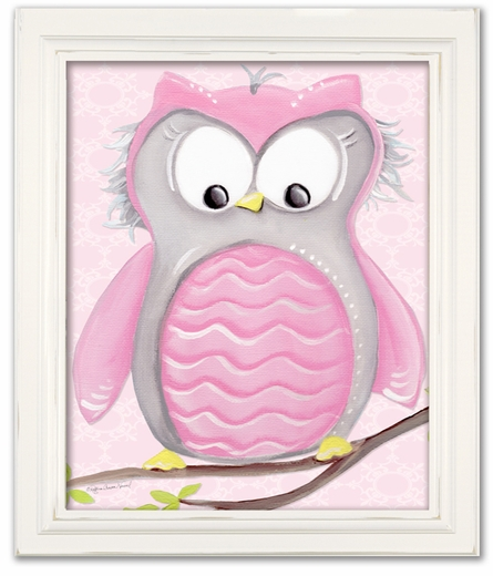 Olive Owl on Pink Framed Canvas Reproduction