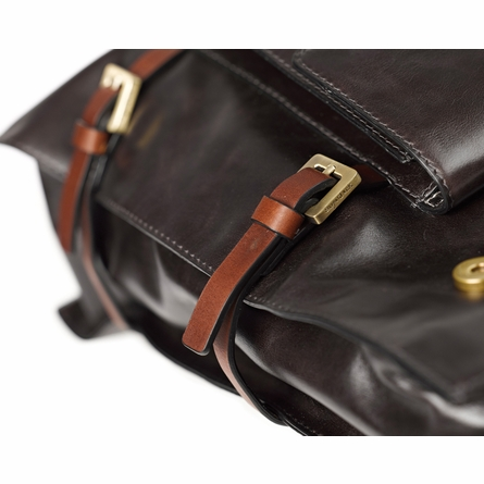 Oliver Leather Diaper Bag in Brown