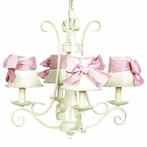On Sale 4-Arm Harp Chandelier in Ivory with Ivory & Pink Check Shades