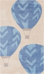 On Sale Abigail Hot Air Balloon Rug in Beige and Cobalt - 5 x 8 Feet