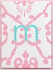 On Sale Aqua & Pink Damask Initial Canvas Reproduction - Letter M