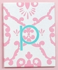 On Sale Aqua & Pink Damask Initial Canvas Reproduction - Letter P