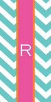 On Sale Beach Towel in Aqua Chevron with Pink and Orange Stripe - Letter R