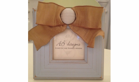 On Sale Blue Covered Button Picture Frame with Khaki Ribbon