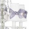 On Sale Chandelier Shade - White with Lavender Sash in Square Knot - Set of 4