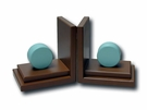 Chocolate & Aqua Blue Orb Bookends